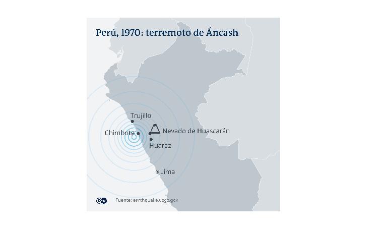 Mapa de Perú: terremoto de Ancash.